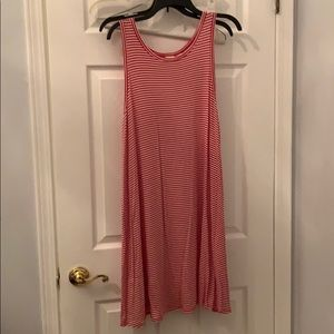 Red and white stripe womans cotton XXL dress